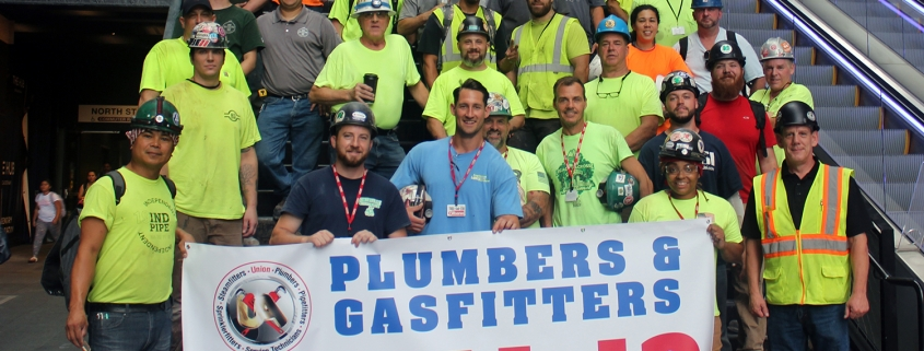 Local 12 plumbers at the construction site of The Hub on Causeway